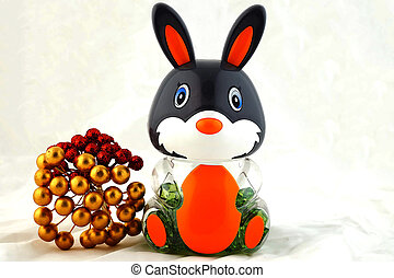 Rabbit toy  for Easter  with white background