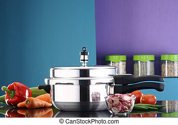 Pressure cooker - A pressure cooker in a kitchen ambiance