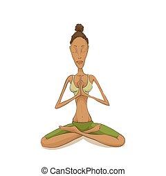 Woman yoga meditating - Woman meditating in lotus pose