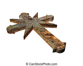 rusty cross - 3d illustration of a rusty cross isolated on...