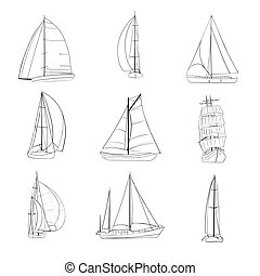 Set of 9 sailboats isolated on white. - Set of 9 boats with...