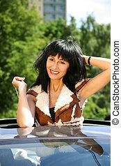 Beautiful brunette in the automobile