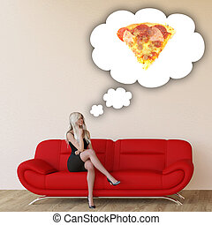Woman Craving Pizza and Thinking About Eating Food