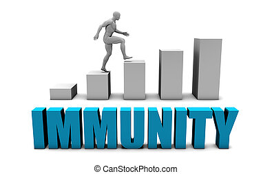 Immunity 3D Concept  in Blue with Bar Chart Graph