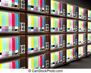 Old analogue television stack. 3D illustration