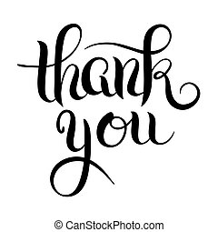 black and white modern calligraphy thank you handwritten...