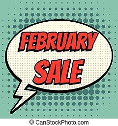 February sale comic book bubble text retro style