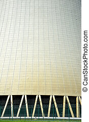 Closeup of the cooling tower of the nuclear power plant...