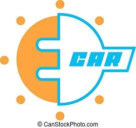 Eco car logo - E-car logo, eco car, color