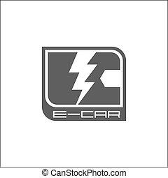 Eco car logo - E-car logo, eco car, gray