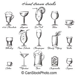 Hand drawn alcoholic and non-alcoholic drinks - Hand drawn...