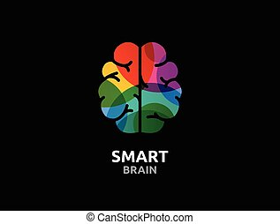 Brain, Creative mind, man head, learning and design icon -...