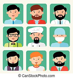 Avatars of men of different professions, flat style