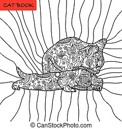 Book coloring pages for adults and children. The book of the cat.
