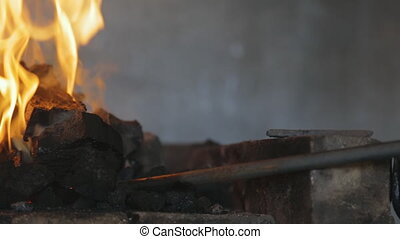 Beautiful burning yellow flame black coal in furnace Flame...