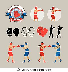 Boxing Graphic Elements - Boxer, Boxing Gloves, Logo, Badge,...