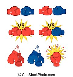 Boxing Gloves Red and Blue - Versus, Knockout, Fight, Quit