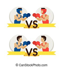 Boxing Athlete Fighting - Boxer, Versus Red and Blue Corner