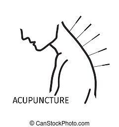Acupuncture logo icon in line style. Vector illustration