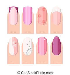 Female manicure set. French manicure style as icons set in color and flat style