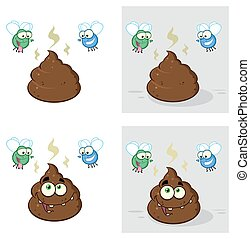 Poop Character With Flies Hovering - Poop Cartoon Character...