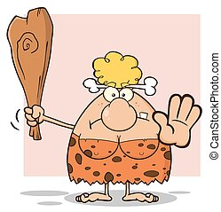 Angry Blonde Cave Woman Cartoon Mascot Character Gesturing...