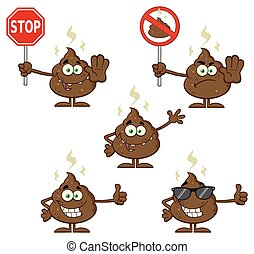 Poop Character Collection Set 4 - Poop Cartoon Mascot...