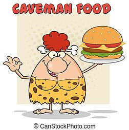 Cave Woman Holding A Big Burger - Funny Red Hair Cave Woman...