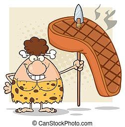 Brunette Cave Woman With Big Steak - Happy Brunette Cave...