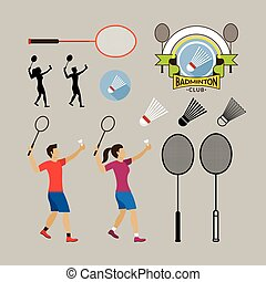 Badminton Player and Graphic Elements