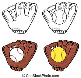 Baseball Gloves With Ball - Cartoon Of Baseball Gloves With...