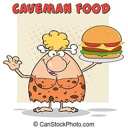 Blonde Woman Holding A Big Burger - Funny Blonde Cave Woman...