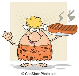 Blonde Woman With Big Grilled Steak - Cave Blonde Woman...