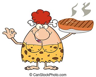 Red Hair Cave Woman With Big Steak - Red Hair Cave Woman...