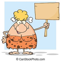 Blonde Cave Woman Holding A Board