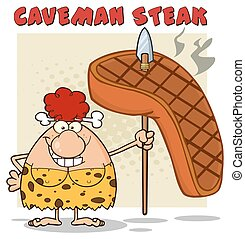 Red Hair Cave Woman With Big Steak - Smiling Red Hair Cave...