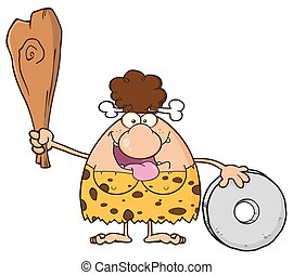 Happy Brunette Cave Woman Cartoon Mascot Character Holding A...