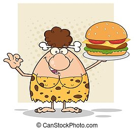 Cave Woman Holding A Big Burger - Smiling Brunette Cave...