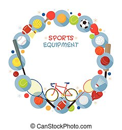 Sports Equipment, Flat Icons Frame - Objects, Recreation and...