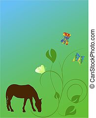 horse with butterfly and flowers