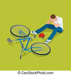 Bicycle accident. Man falls off his bicycle. Flat 3d vector...