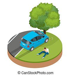 Car crashed into tree. Car crash collision traffic insurance. Car crash safety automobile emergency disaster. Auto accident involving car crash city street vector isometric illustration.
