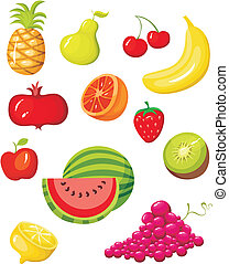 fruit set - vector illustration of a fruit set