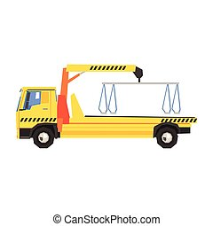 Empty Yellow Big Evacuation Truck Flat Simplified Colorful...