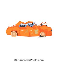 Completely Crashed Orange Car Flat Simplified Colorful...