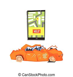 Smartphone Evacuation App And Crushed Car Flat Simplified...