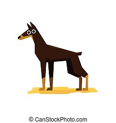 Dobermann Pinscher Dog Bright Color Simplified Geometric...