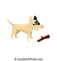 Bull Terrier And A Stick Bright Color Simplified Geometric...