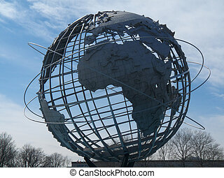 Big globe - huge globe in Flushing Meadows park erected for...