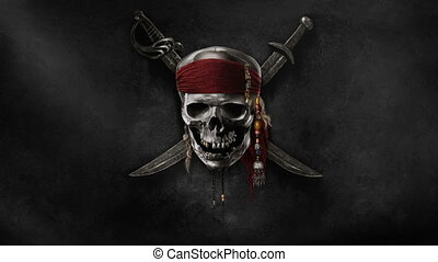 Pirate Flag Waving 4k resolution